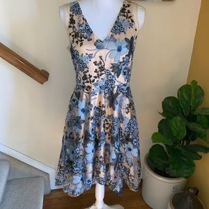 Belle Badgley Mishka blue sequin floral dress 10